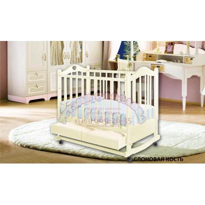 Детская кроватка для новорожденного Ведрусс Лана-2 колёса + качалка + ящик