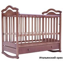 Детская кроватка для новорожденного Лаура-7 колёса + качалка + ящик
