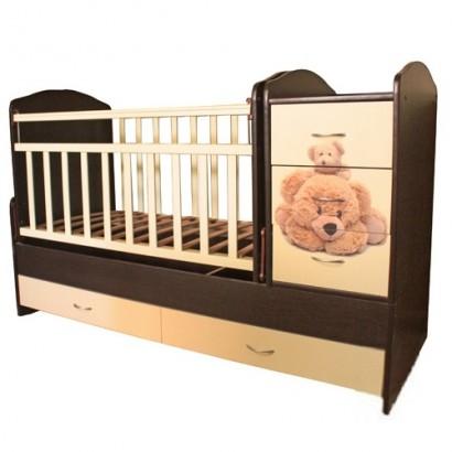 Детская кроватка трансформер маятник Мишки с аэрографией