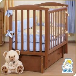 Кроватка для новорожденного Лель - Кубаньлесстрой Лютик АБ 15.3 продольный маятник + закрытый ящик