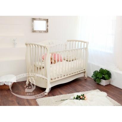 Кроватка для новорожденного Можга Елизавета С-553 Красная звезда колёса + ящик