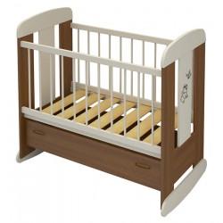 Детская кроватка для новорожденного Алмаз мебель Зайка колёса + качалка + ящик