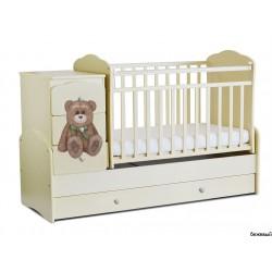 Детская кроватка трансформер маятник СКВ-9 Мишка