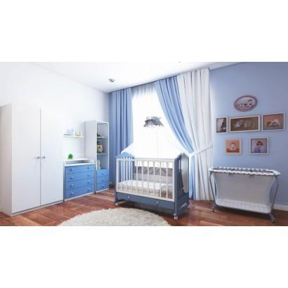 Детская комната Фея 4 предмета: кроватка из массива 621 + комод 1580 + шкаф двухсекционный + стеллаж