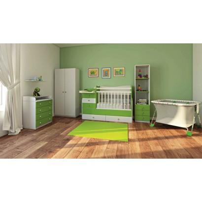 Детская комната Фея 4 предмета: кроватка трансформер 1400 + комод 1580 + шкаф двухсекционный + стеллаж