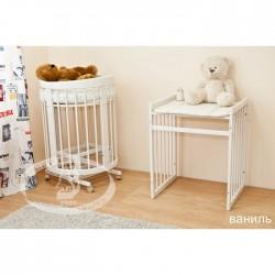 Детская круглая кроватка для новорожденного с продольным маятником Можга Красная звезда Паулина-2 С422