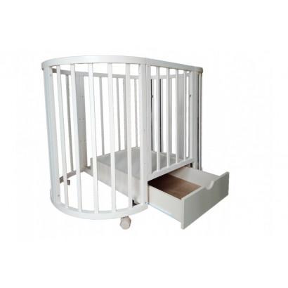 Круглая (овальная) кроватка с ящиком Mika Neva 8 в 1 - 75 см
