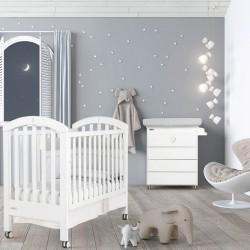 Комплект №1 Micuna White Moon: кроватка 120x60 + пеленальный комод