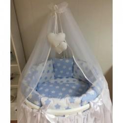 Бортики подушки на кроватку для новорожденных «Голубые пряники»