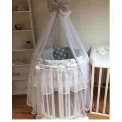 Бортики подушки в кроватку для новорожденных «Серые пряники»