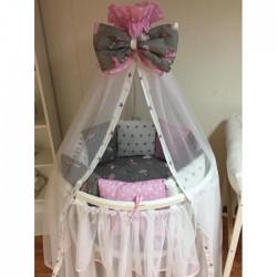 Бортики подушки на кроватку для новорожденных «Балерины Розовые»