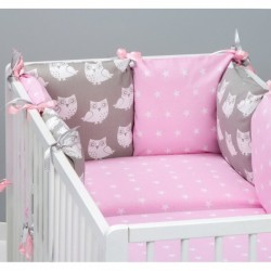 Подушки бортики для детской кроватки «Розовые совята»