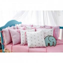 Бортики подушки на кроватку «Розовые звёздочки»