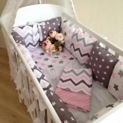 Подушки бортики на кровать «Розовые волны»