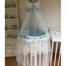 Бортики подушки на кроватку для новорожденных «Бирюза»