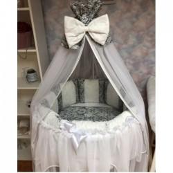 Бортики подушки в кроватку «Дуэт серебро»