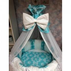 Бортики подушки на кроватку «Дуэт бирюза»
