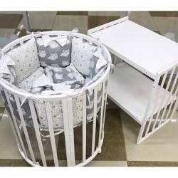 Подушки бортики для детской кроватки «Серые совята»