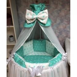 Подушки бортики в детскую кроватку «Звёздочки мята»