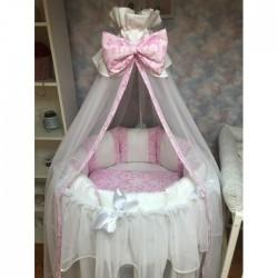 Бортики подушки в кроватку «Дуэт розовый»