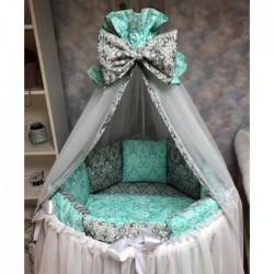 Бортики подушки на кроватку «Дамаск мята»