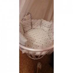 Бортики подушки в кроватку для новорожденных «Звёздочки»