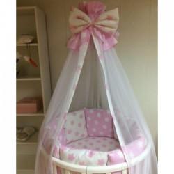 """Бортики подушки в кроватку для новорожденных """"Розовые пряники"""""""