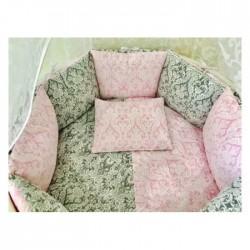 """Бортики подушки в кроватку """"Розовый Дамаск"""""""