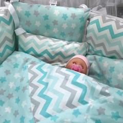 """Подушки бортики в детскую кроватку """"Мята"""""""