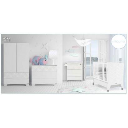 Комплект №1 Micuna Mare: кроватка 120x60 + комод + тумба + шкаф + текстиль