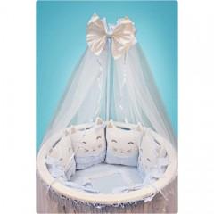 Универсальный комплект для круглой и овальной кроватки Котики 11 предметов