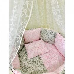 Универсальный комплект для круглой и овальной кроватки Дамаск 11 предметов