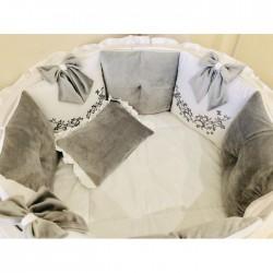 Универсальный комплект для круглой и овальной кроватки Грей 12 предметов