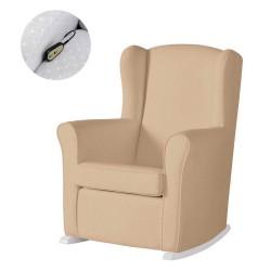 Кресло-качалка с Relax-системой Micuna Wing/Nanny White Кожаная обивка