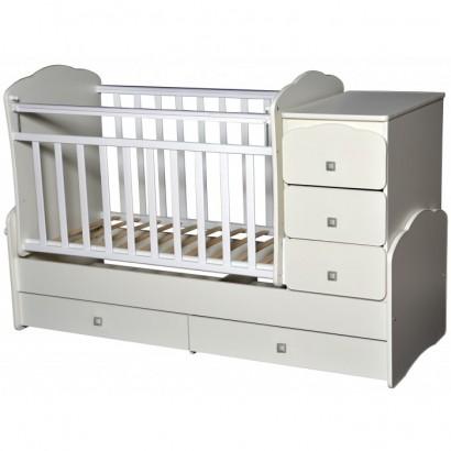 Детская кроватка-трансформер Кедр Martina 1 (маятник поперечный)  фигурные спинки