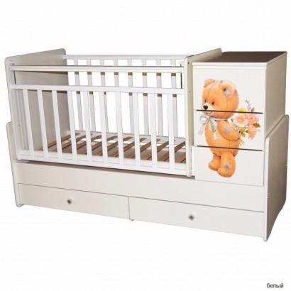 Детская кроватка-трансформер Кедр Martina 2 Teddy (поперечный маятник)