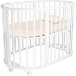 Круглая кроватка трансформер маятник Агат Папа Карло 1/6 с пеленальным столиком