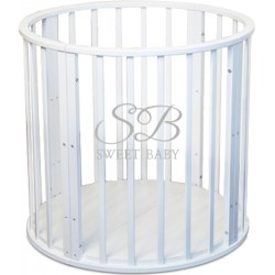 Круглая (овальная) кроватка трансформер Delizia Bianco 10 в 1 с маятником