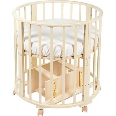 Круглая (овальная) кроватка трансформер Delizia Avorio 10 в 1 с маятником