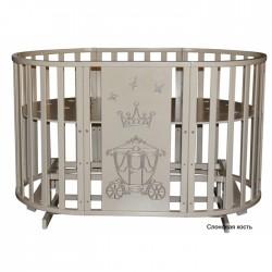 Круглая кроватка-трансформер 6 в 1 Кедр Любаша-4 Корона (маятник универсальный) с наматрасником