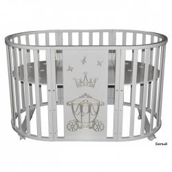 Круглая кроватка-трансформер 6 в 1 Кедр Любаша-4.4 Корона