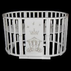 Круглая кроватка-трансформер 6 в 1 Кедр Sofia 2 Crown (маятник универсальный)