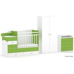 Комната новорожденного Фея 3 предмета: кроватка трансформер 1400 + комод 1580 + шкаф двухсекционный