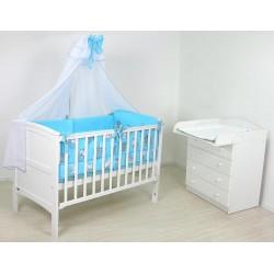 Комната новорожденного Фея 10 предметов: кроватка трансформер из массива 810 + комод 1580 + комплект Мишутка