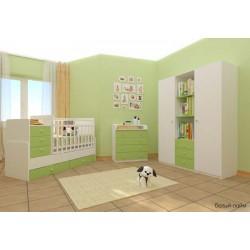 Детская комната Фея 2 предмета кроватка трансформер с маятником 1100 + комод 1580