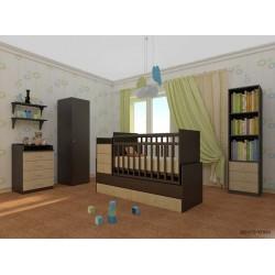 Детская комната для новорожденного Фея 2 предмета кроватка трансформер маятник 1200 + комод 1560