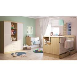 Детская комната для новорожденного Polini (Полини) кроватка-трансформер+комод+шкаф трёхсекционный