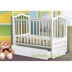 Детская кроватка с продольным маятником и ящиком Можгинский лесокомбинат Камилла