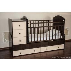 Детская кроватка-трансформер с комодом Папа Карло 1/1 поперечный маятник