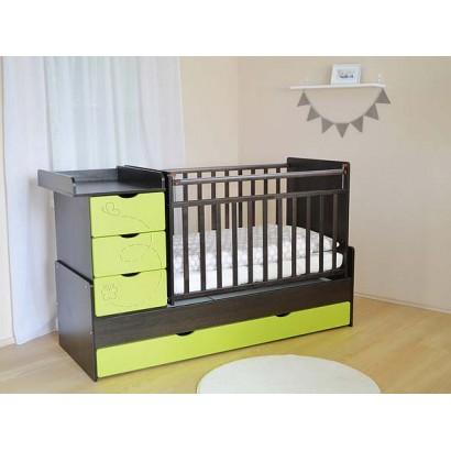 Детская кроватка трансформер с маятником и комодом СКВ-5 Бабочки фрезеровка